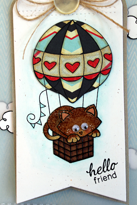 Hot Air Balloon Card by Larissa Heskett | Newton Dreams of Paris Cat Stamp set by Newton's Nook Designs