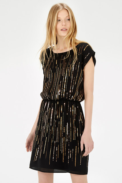 black gold sequin dress, warehouse black sequin dress, black and gold dress,