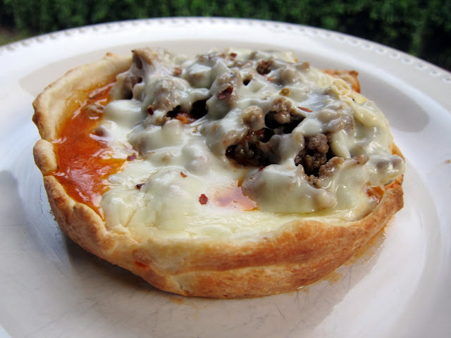 Pizza Pot Pie - place pizza topping and cheese in large ramekin, top with pizza crust and bake. Flip over to reveal a mini deep dish pizza! Easy to customize the ingredients! Fun twist to pizza night.