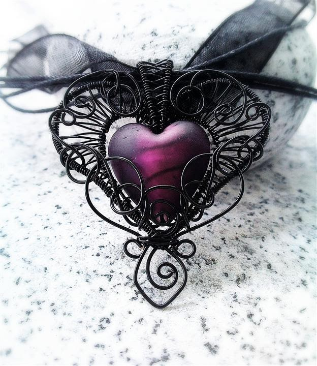 Handmade wire wrapped filigree fantasy and steampunk jewelry time lapse and tutorial preview for my latest tutorial the gothic heart wire wrapped pendant im really pleased with how this design turned out mozeypictures Image collections