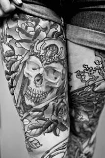 Tattoo de caveira na coxa