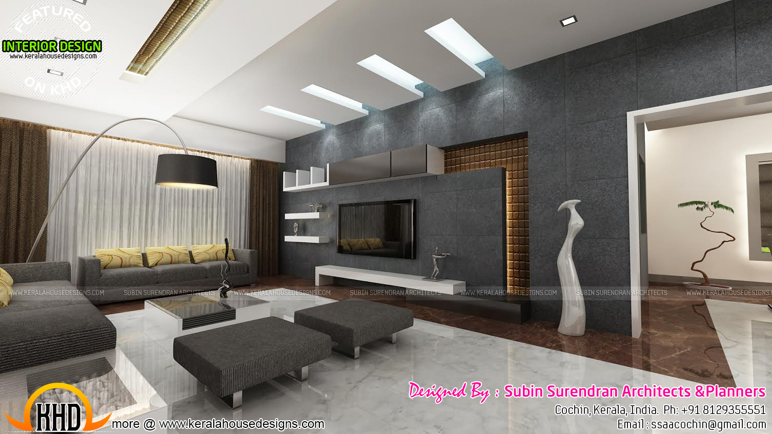 Living rooms modern kitchen interiors in kerala kerala for Kerala house interior arch design