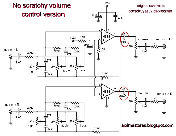 Tone Control Circuit Diagram | Amateur Built Tda2003 Stereo Amplifier With Tone Control 20 Watts