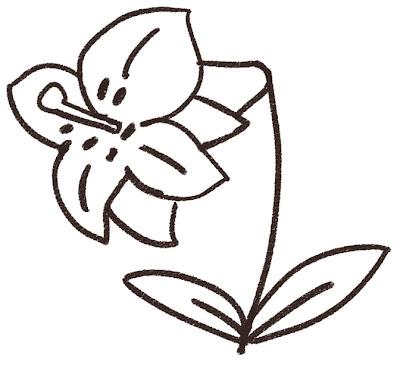 ユリのイラスト(花) モノクロ線画