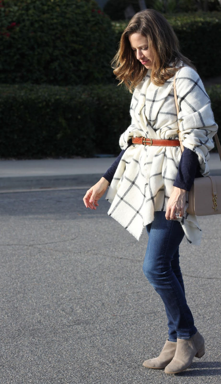 plaid poncho outfit