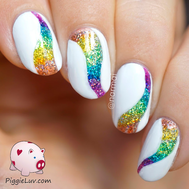 white tip nail design with glitter
