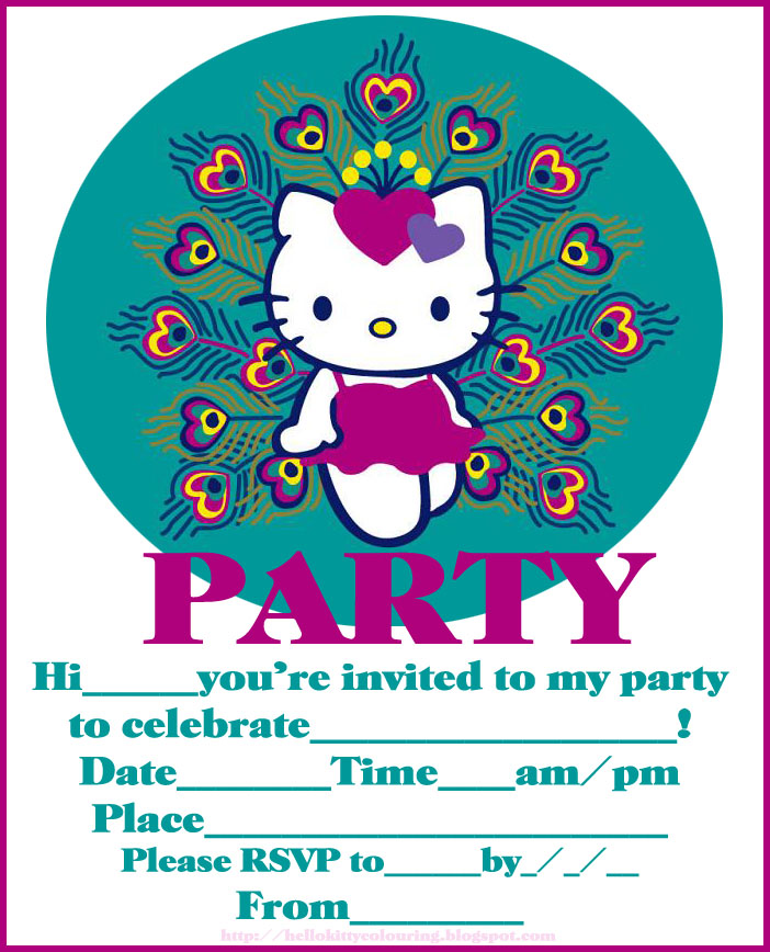 HELLO KITTY COLORING PAGES – Hello Kitty Party Invitations Printable