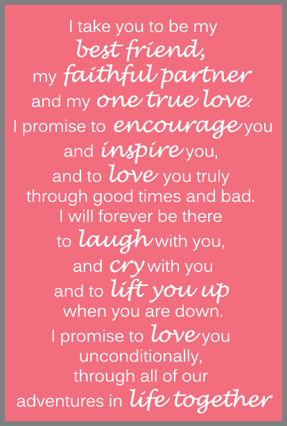 Heres An Example Of The Traditional Wedding Vows That You Often See In Movies