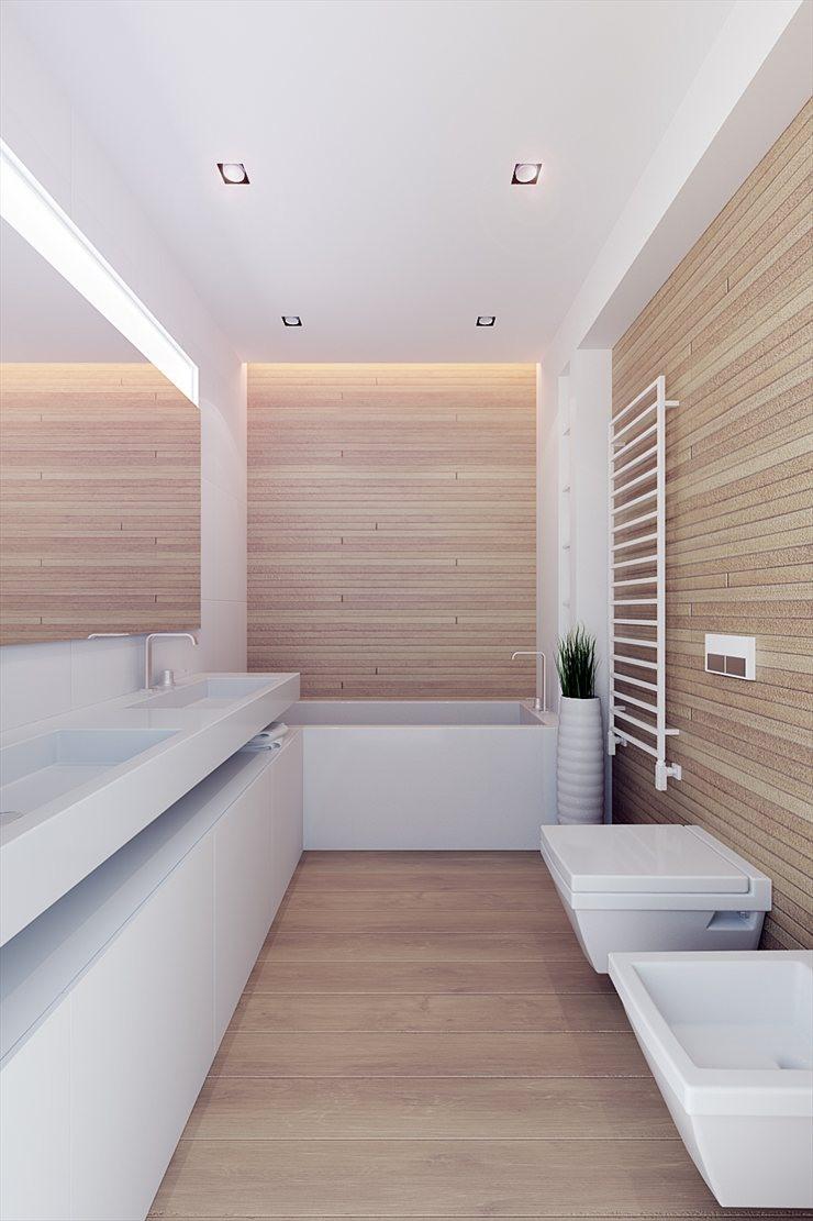 Arquitectura y dise o apartamento en blanco y madera 100m line architects - Interiorismo banos modernos ...