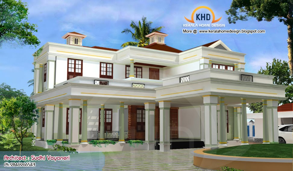 Home plan and elevation 3317 sq ft home appliance for New kerala house plans with front elevation