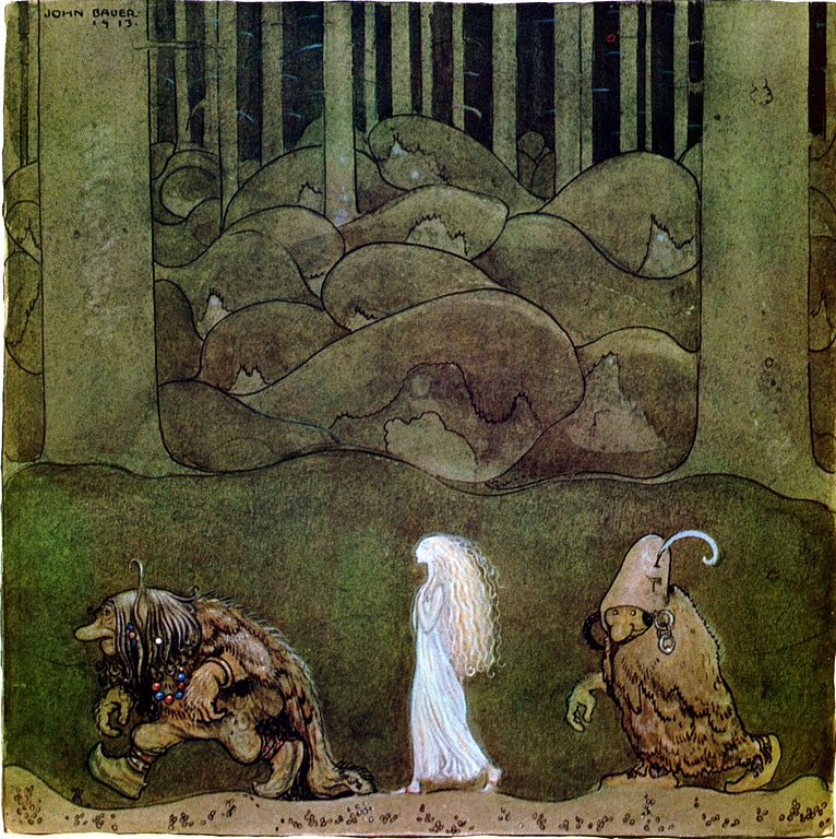 Painting of two trolls leading away a blonde girl