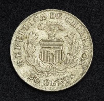 Chile Silver 20 Centavos Coin