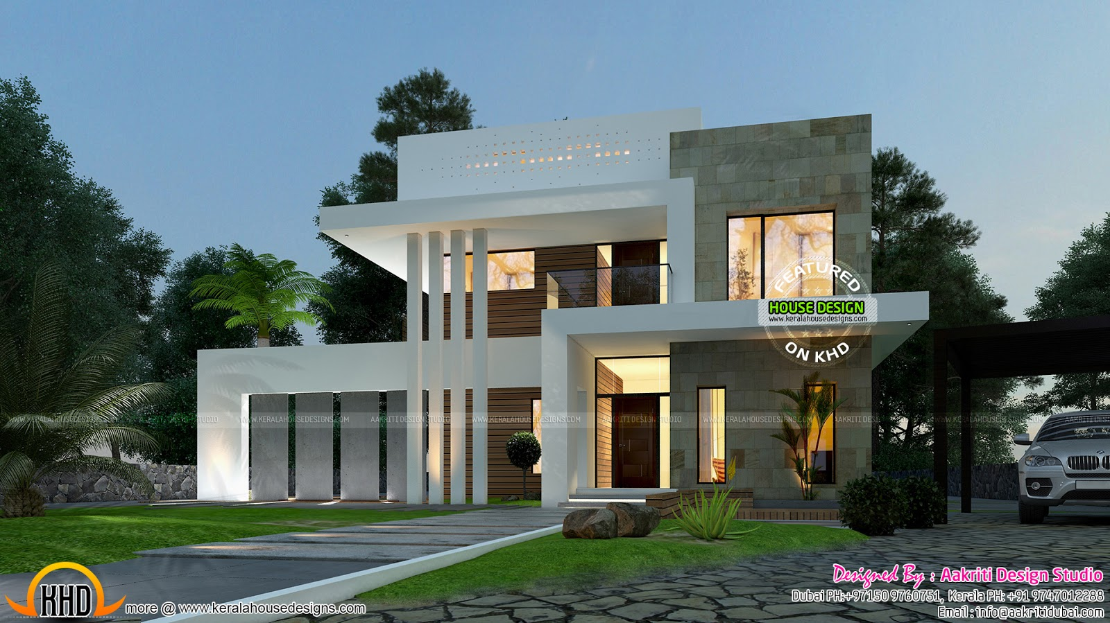 September 2015 kerala home design and floor plans for Modern triplex house designs