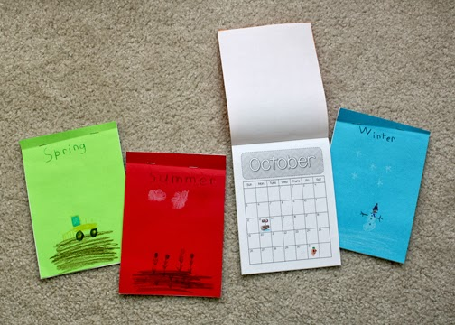 "Tessa's completed ""Creative Calendars."" She grouped the months by season, labeled and illustrated the cover of each booklet and then drew icons for various holidays."