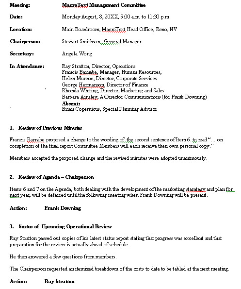 formal meeting minutes template .