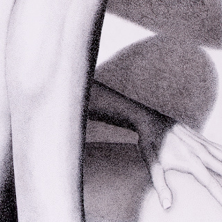 Closeup of thigh and hand in shadow of drawing Into the Light 2. Drawing is a portrait of a nude woman with her arms resting on her thigh and knee. Created entirely out of ink dots in the pointillism style.