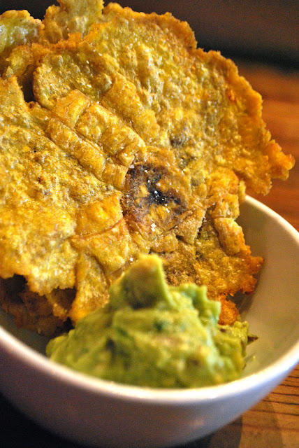 Scrumpdillyicious: Fried Plantain Tostones with Guacamole