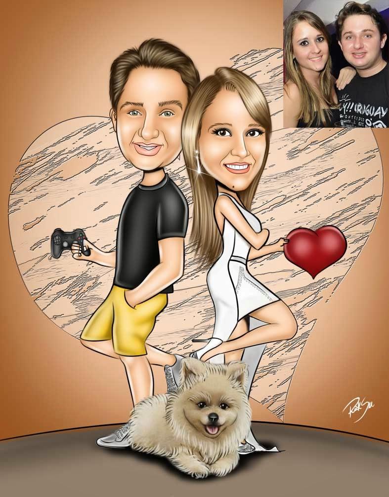 caricatura casal com cachorro