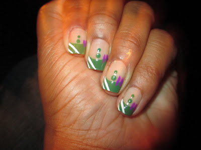Revlon - Posh, green, frenchie, alien inspired, nail art, nail design, mani