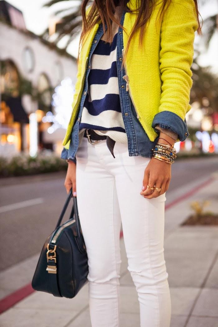 Yellow cardigan, denim jacket, blouse and white pants with handbag