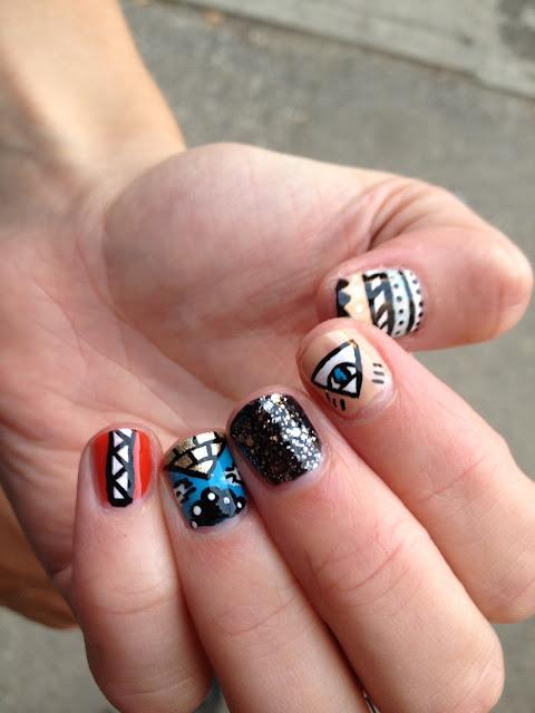 Nail art, nail design, aztec, glitter, evil eye, pyramid
