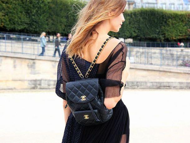 Fashion Week Street Style Chanel Backpack