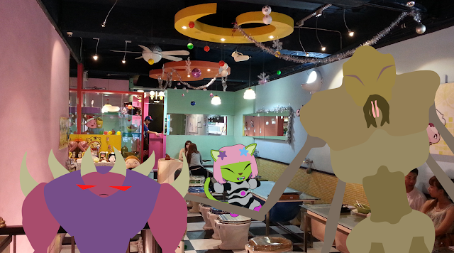 Alien Neko at a toilet themed restaurant: Modern Toilet