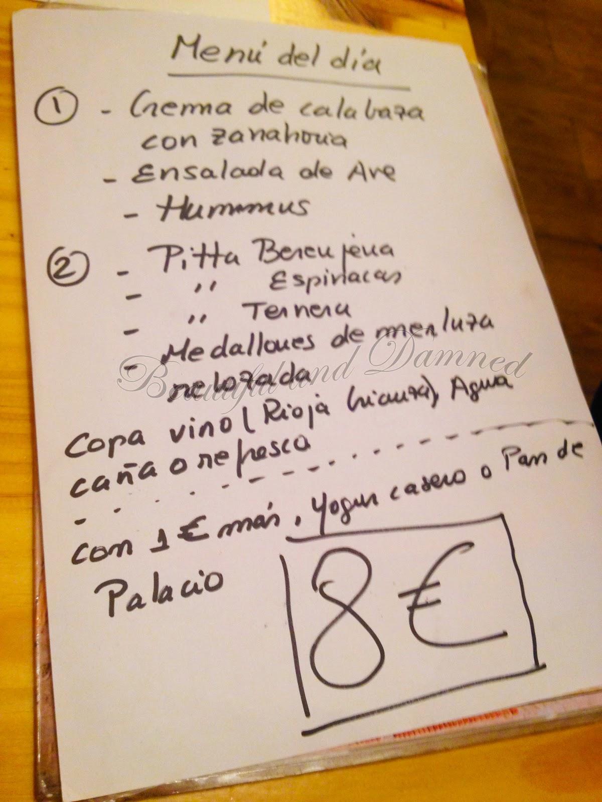 Menú del día del Café Capuccino