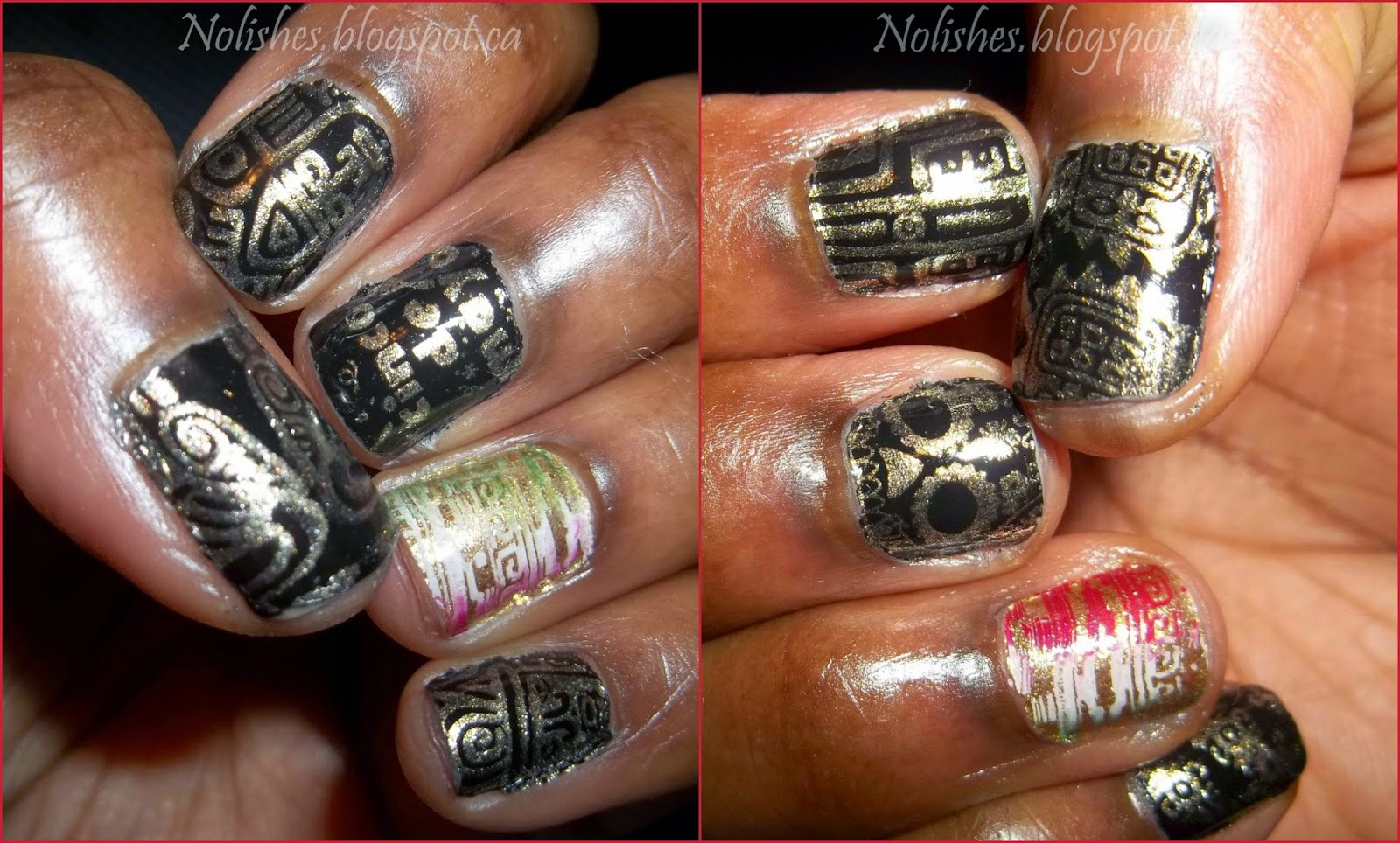 Cinco de Mayo Nail Stamping Manicure in Black, Gold, Red, White and Green. Stamped using Cheeky's Jumbo Plate 1 'Viva Mexico', and Moyou London's Pro XL Collection plate 06.