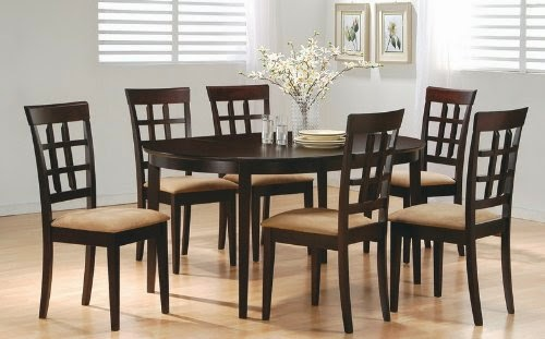 7piece dining set in rich cappuccino