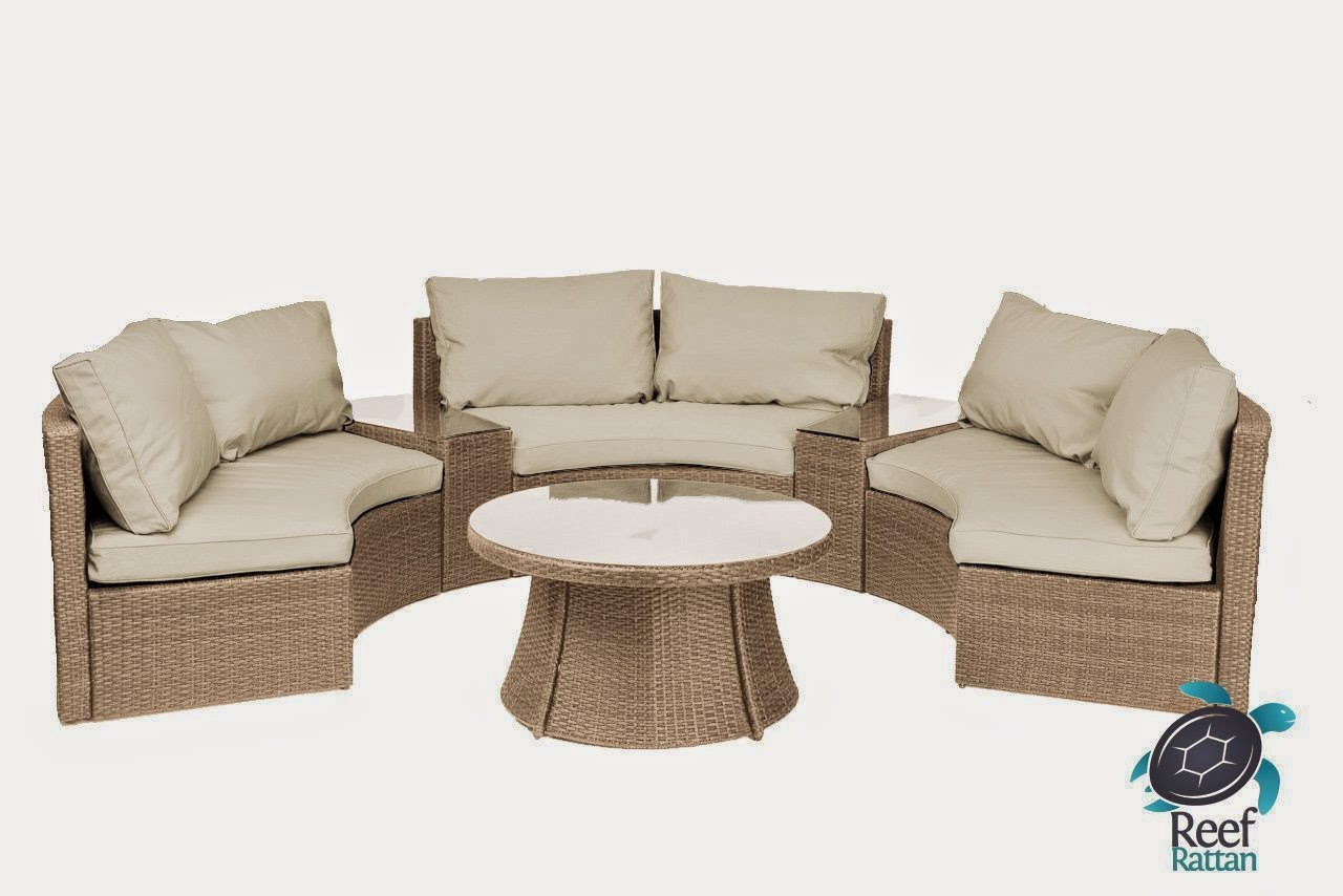 Reef Natural Rattan And Beige Cushions Curved Outdoor Sofa