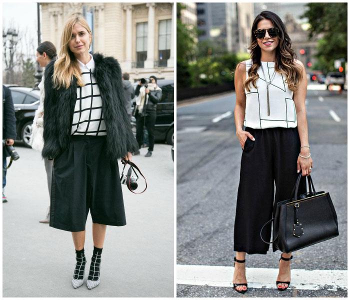 Pantalones culotte look geometrico blanco y negro