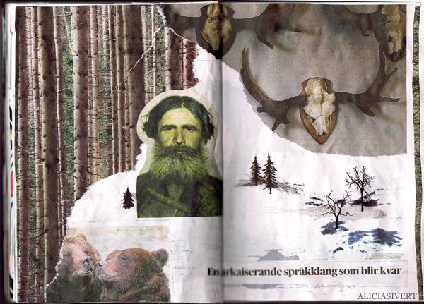 aliciasivert, alicia sivertsson, collage, kollage, assemblage, klippa och klistra, tidningsurklipp, en arkaiserande språkklang som blir kvar