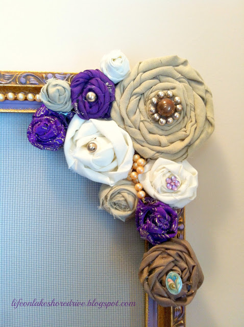 fabric rosettes with jewelry organizer, vintage jewelry, tutorial