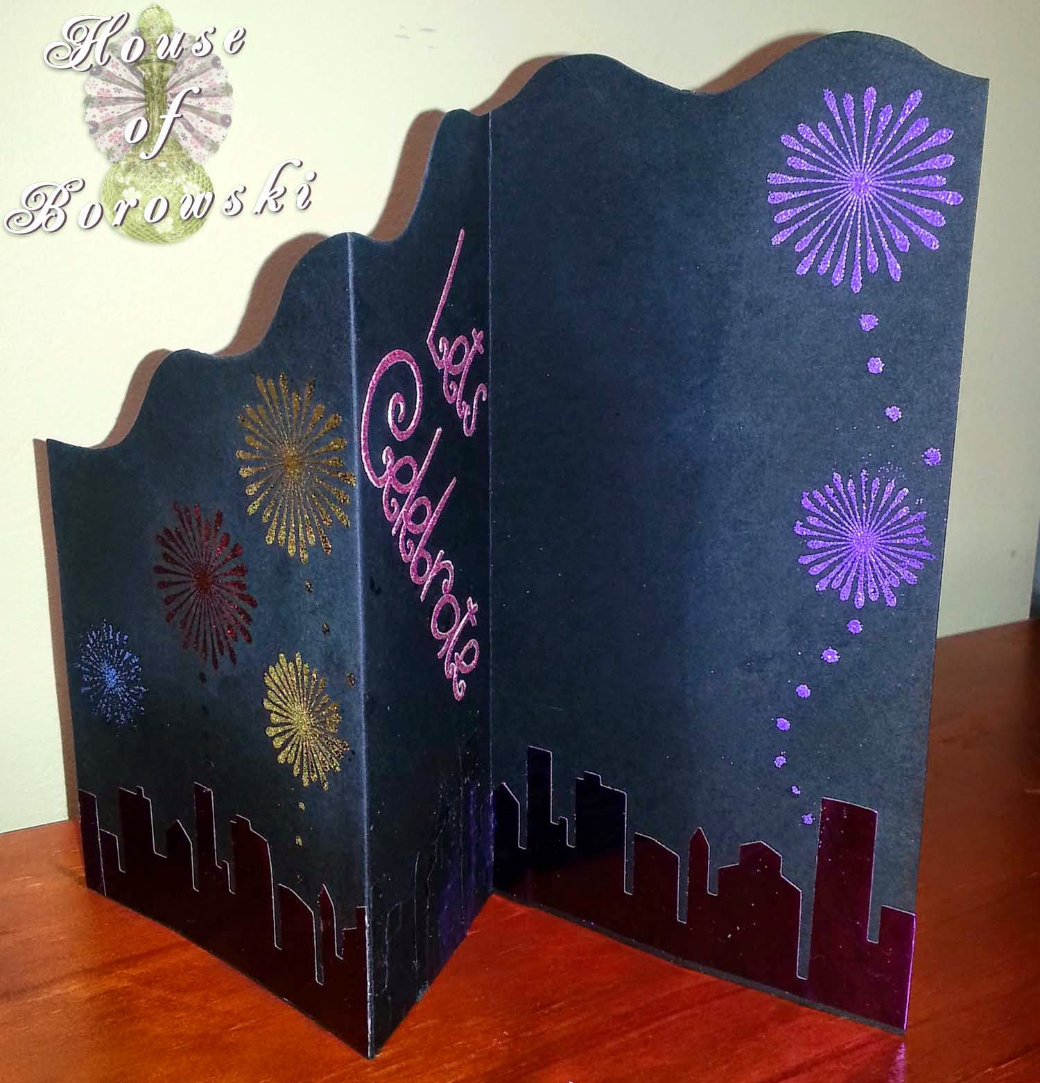 House of Borowski, memory box cityscape silhouette, Cuttlebug, allison ellis design, judikins, Gina K Design Stamp, DCWR,