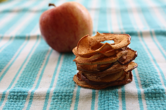 A stack of cinnamon apple chips on a tablecloth