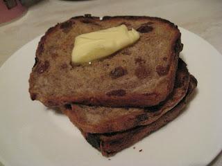 homemade toast hot buttered