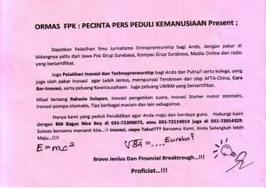 Iklan Ormas FPK : Pecinta Pers Peduli Kemanusiaan Surabaya