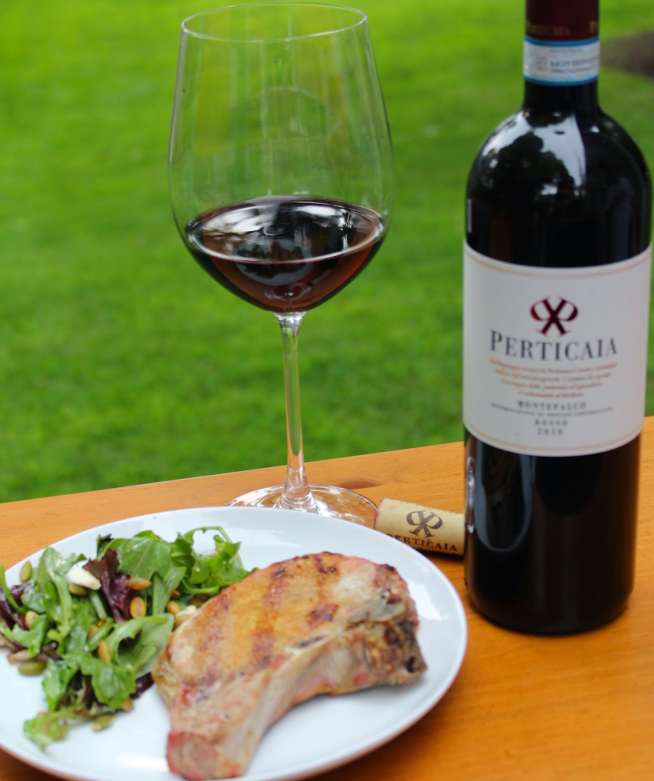 Grilled Pork Chops Served with an Italian red wine: Azienda Agraria La Perticaia Montefalco Rosso