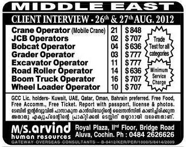 Crane Jcb Excavator Operators Gulf Jobs For Malayalees