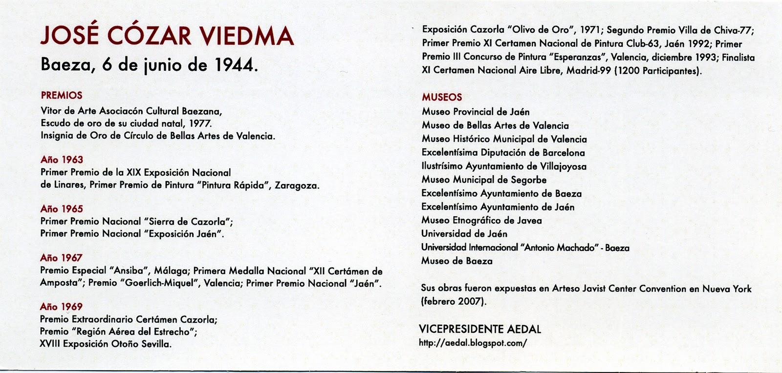 LETRAS INVITACIÓN EXPOSICIÓN JOSÉ CÓZAR EN SALA ARTIS , VALENCIA