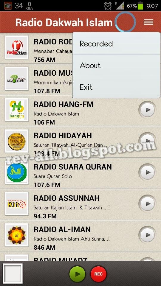 Menu tampilan utama - Radio Dakwah Islam - Aplikasi android untuk mendengarkan radio islam online (rev-all.blogspot.com)