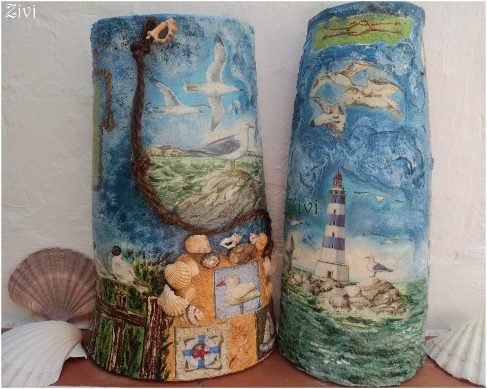 El Rinconcito de Zivi: Mi segunda teja, tejas decoradas con decoupage