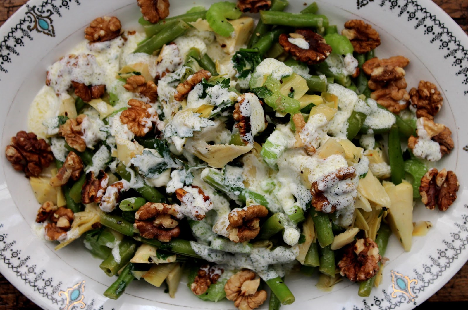 ... and green bean salad with toasted walnuts and lemon yoghurt dressing
