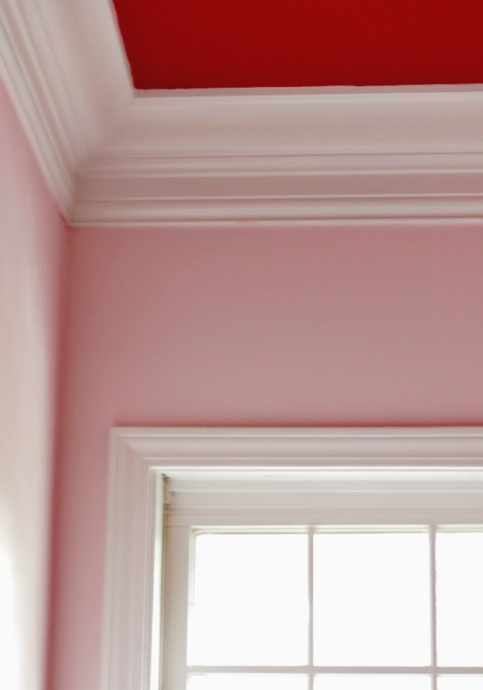 pink walls red ceiling