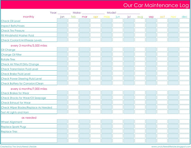 vehicle service record log