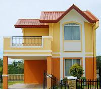 modelo de casa de dos pisos colores amarillo y naranjo