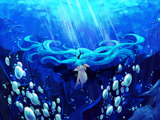 Miku Hatsune Twin Tail Underwater Bubbles Vocaloid Anime Girl HD Wallpaper Desktop PC Background 1935