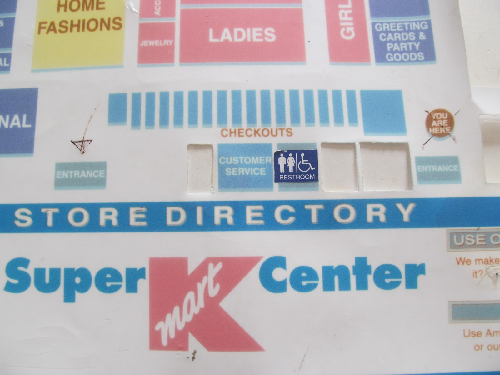 Trip to the mall find old super kmart center floor map drygoods and frozen food sections of the map have been cut out also what i think was the olan mills and maybe optical sections were also cut out gumiabroncs Choice Image