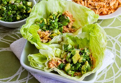... Slow Cooker Spicy Shredded Chicken Lettuce Wrap Tacos with Avocado